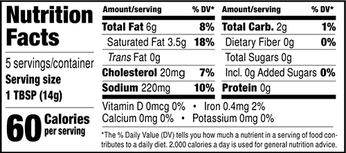 Red Chile Seasoned Butter Nutrition Facts